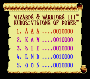 Wizards & Warriors III: Kuros - Visions of Power