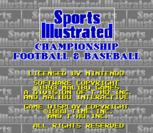 Sports Illustrated Championship Football & Baseball